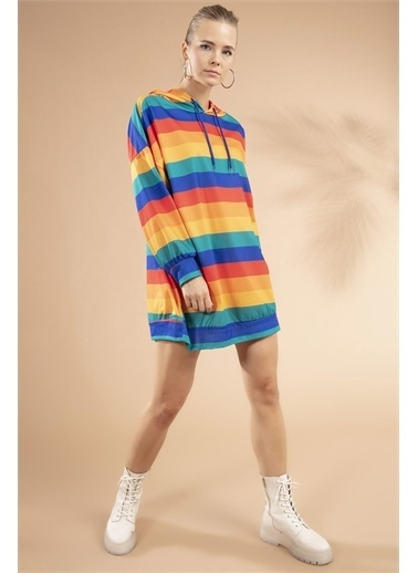 Pattaya Pattaya Kadın Renk Bloklu Kapşonlu Sweatshirt Elbise Y20W110-4125-10 Renkli